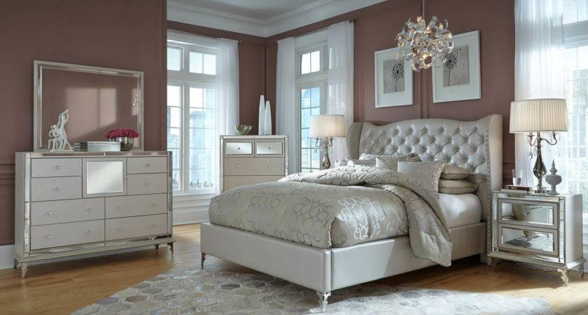 Aico Hollywood Loft Frost Upholstered Platform Bedroom Set