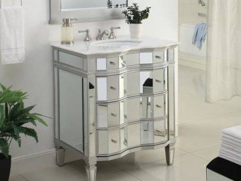 All Mirrored Ashley Bathroom Sink Vanity Cabinet