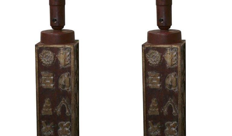 Amazing Pair Carved Lamps Stdibs