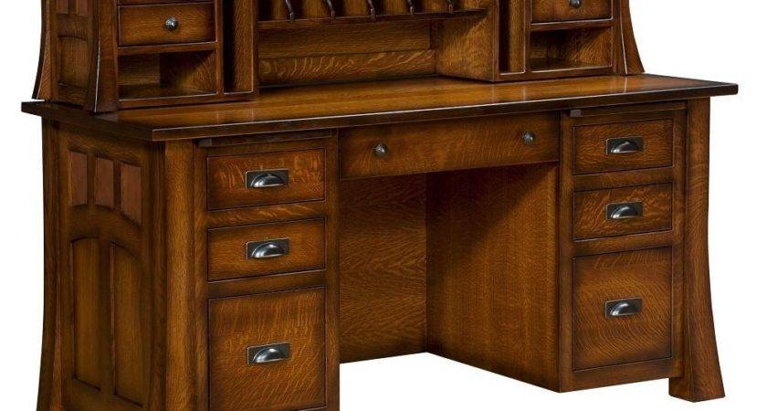 Amish Computer Desk Hutch Topper Solid Wood Home Office