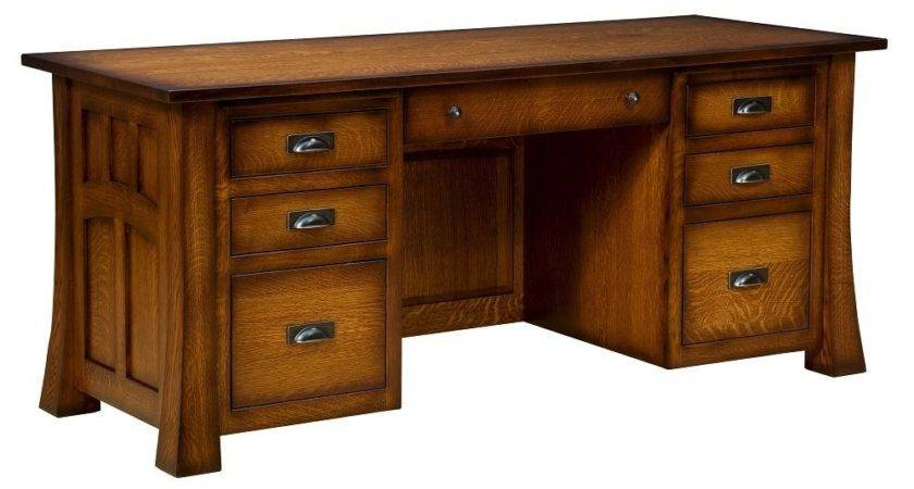 Amish Executive Computer Desk Solid Wood Home Office