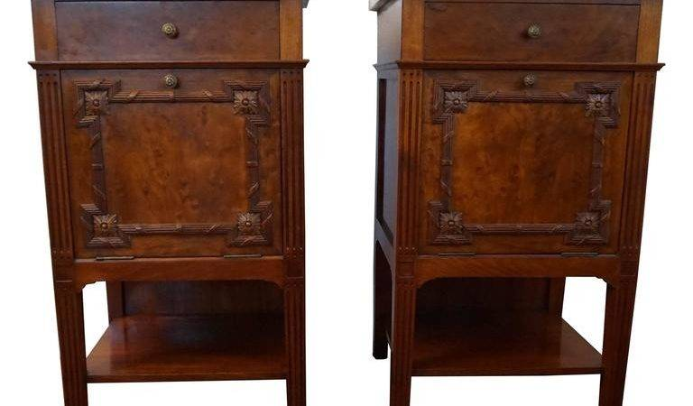 Antique Mahogany Bedside Tables Cabinets Carved