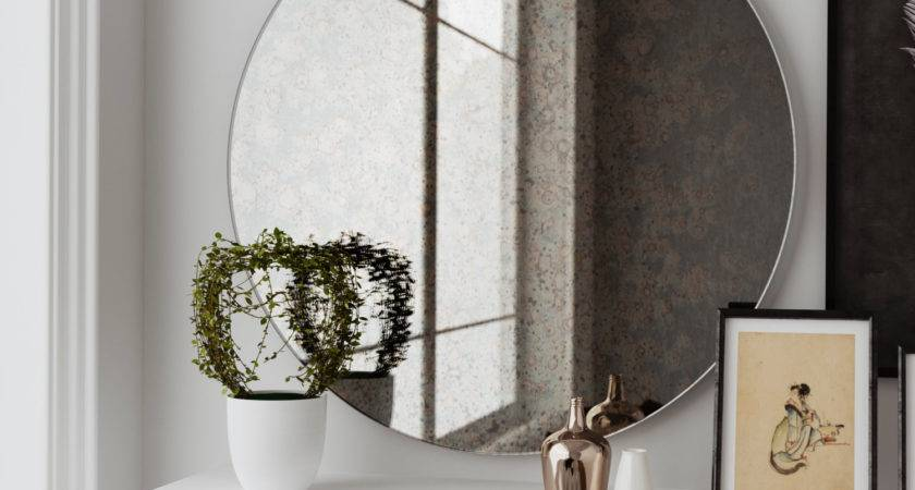 Antique Round Mirror Hanging Wall Made Custom