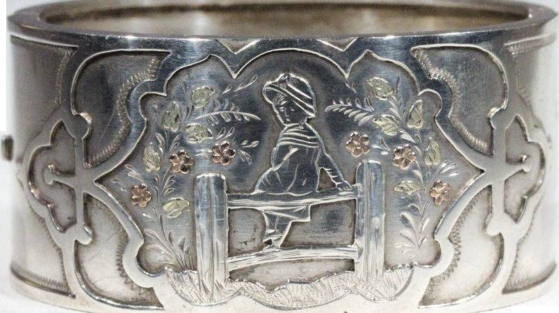Antique Victorian Kate Greenaway Silver Bangle Gold