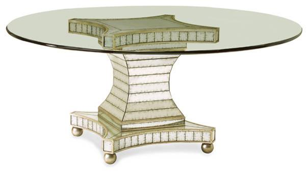 Antiqued Mirror Glass Dining Table Contemporary