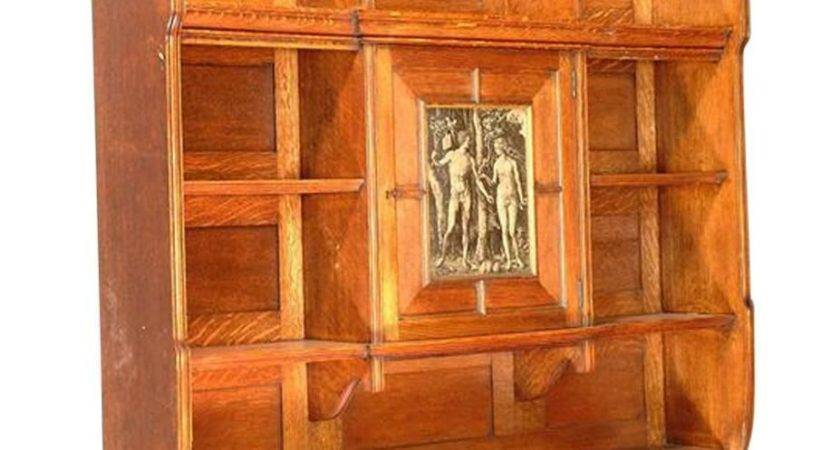 Arts Crafts Oak Wall Hanging Bookcase Attributed