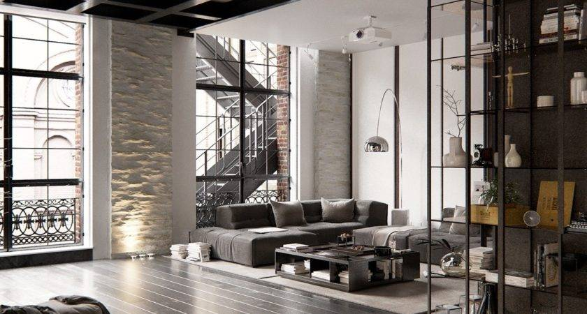 Attractive Industrial Apartment Decor Gray Loft