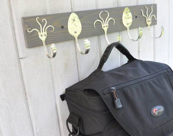 Awesome Coat Rack Funky Fork Hooks Stained Gray
