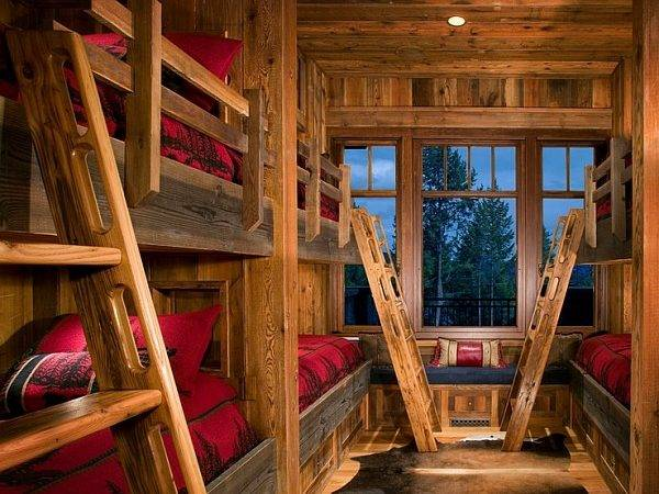 Awesome Kids Room Bunk Beds Rustic Cabin Style