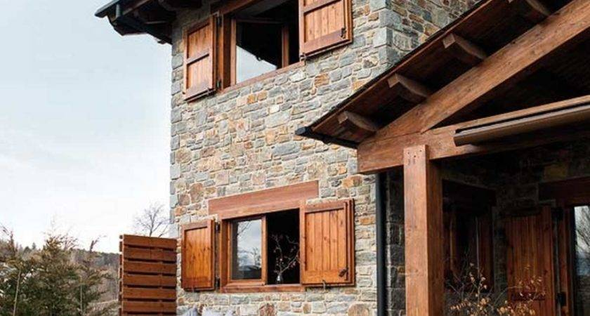 Awesome Winter House Stone Wood Material Big