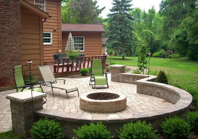 Backyard Fire Pit Traditional Patio Cleveland