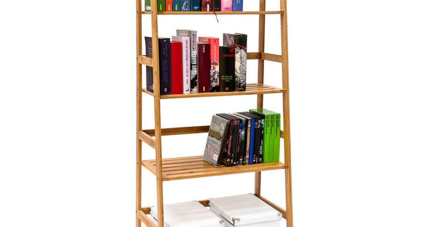Bamboo Bookcase Wooden Shelf Standing Four