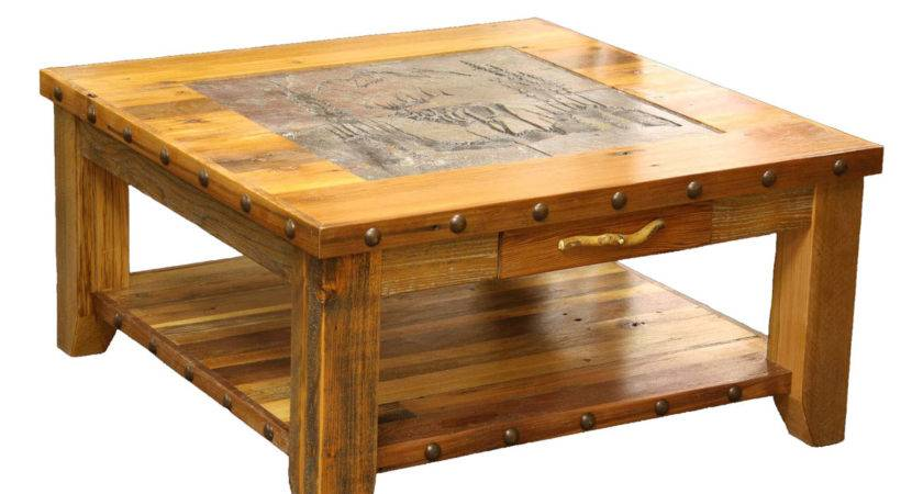 Barnwood Elk Scene Tile Top Coffee Table Nailheads