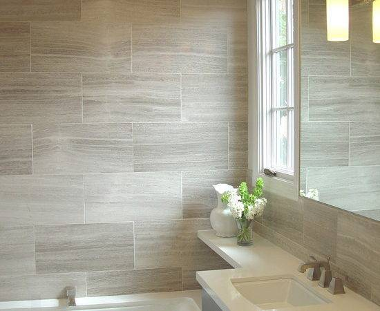 Basement Bathroom Tile Idea Large Scale Tiles Easier