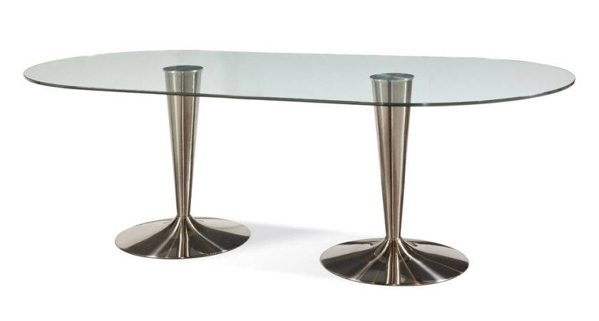 Bassett Mirror Concorde Oval Glass Dining Table Double