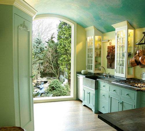 Beautiful Sky Blue Kitchen Painted Cabinets Soft Green