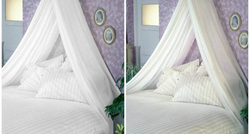 Bed Canopy Set Soft Sheer Voile Rod Fixing Kit Complete