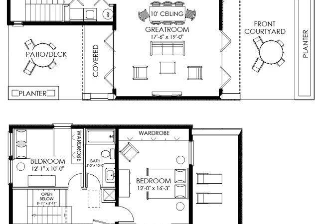 Bedroom Designs Simple Two Bedrooms House Plans Small