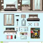 Bedroom Interior Flat Style Vector Illustration House
