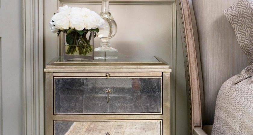 Bedroom Mirrored Nightstand Design Drawer Table