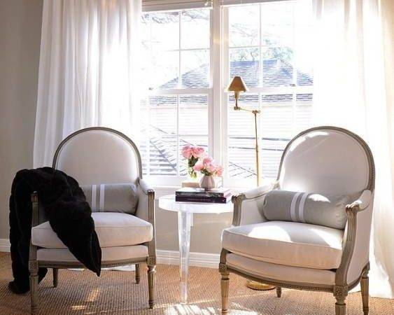 Bedroom Sitting Area French Chairs Lucite Table