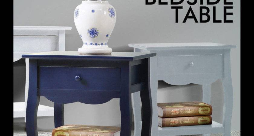 Bedside Table Vintage Style Storage Nightstand High Gloss