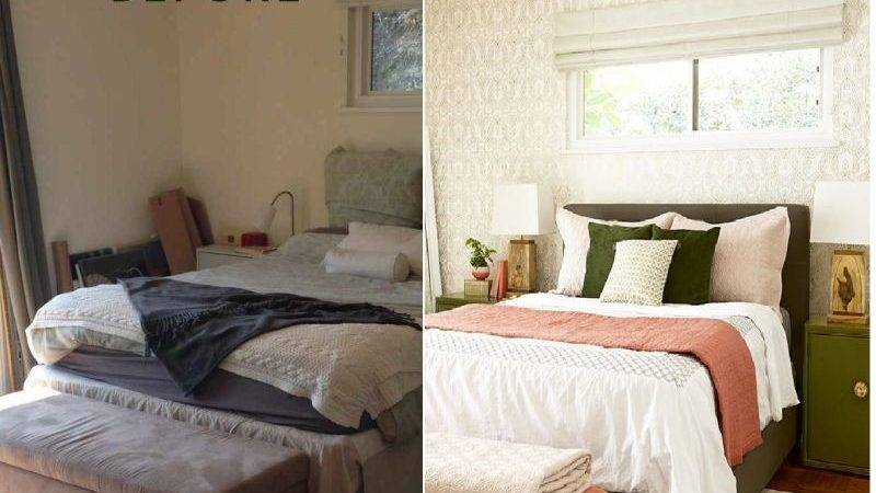 Before After Bedroom Makeover Moss Coral