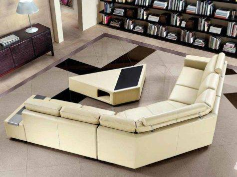 Beige Sectional Sofa Coffee Table Leather Sectionals