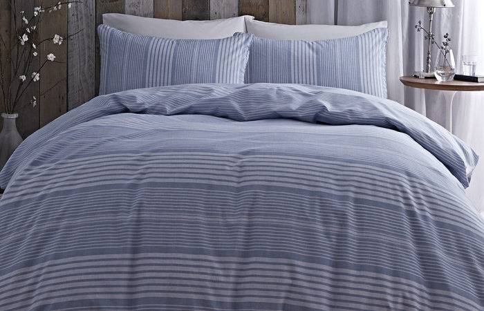 Bianca Cotton Soft Stripe Duvet Cover Set Blue King