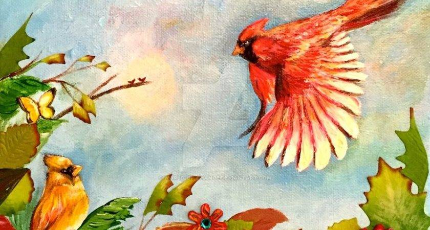 Bird Painting Autumn Cardinal Paradise World