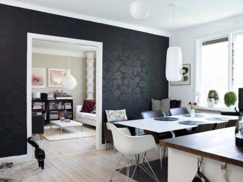 Black Accent Walls Dining Rooms
