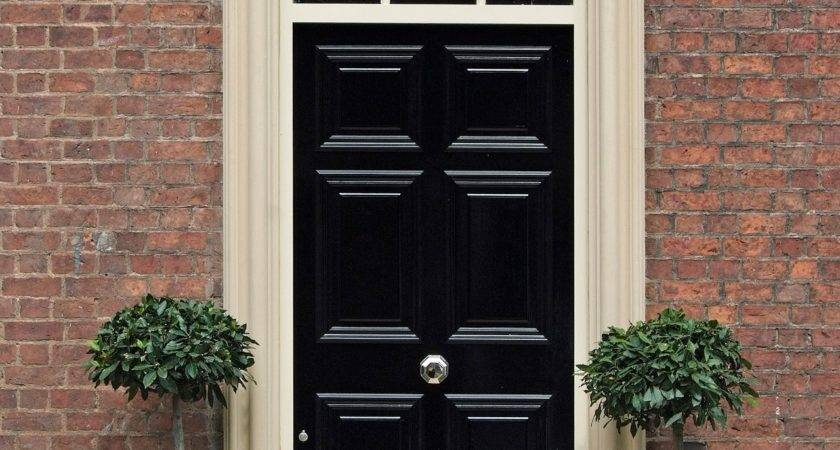 Black Entrance Home White Frame Door Also Has Two