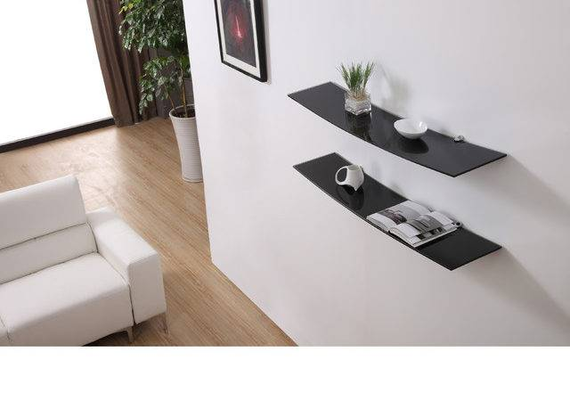 Black Gravity Floating Glass Modern Shelves Set