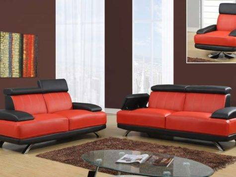 Black Red Unique Sofa Set Chrome Legs Storage
