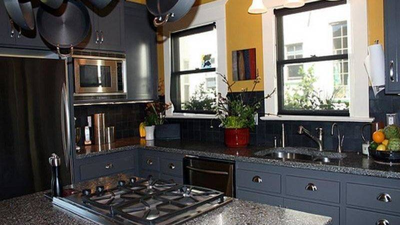 Bloombety Dark Blue Paint Color Kitchen Cabinets