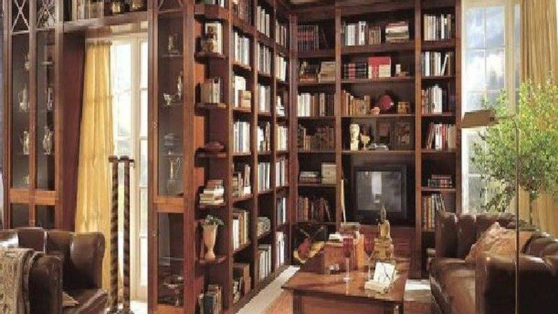 Bloombety Wood Home Library Design Ideas