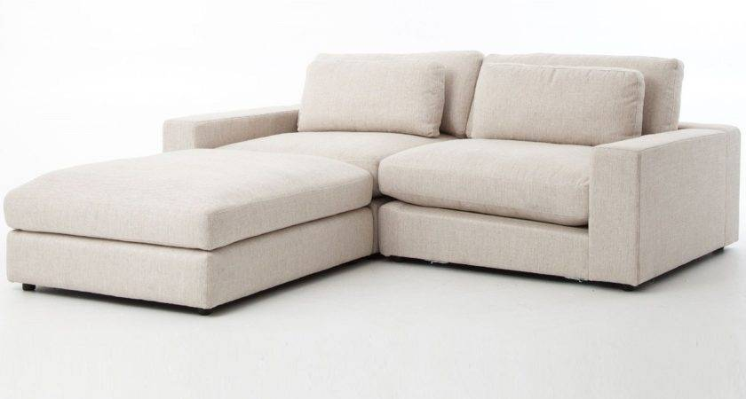 Bloor Beige Contemporary Piece Small Sectional Sofa