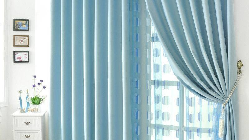 Blue Colored Hotel Style Curtains Home Polyester