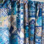Blue Moroccan Rug Window Curtain Panels Custom Fabricasia