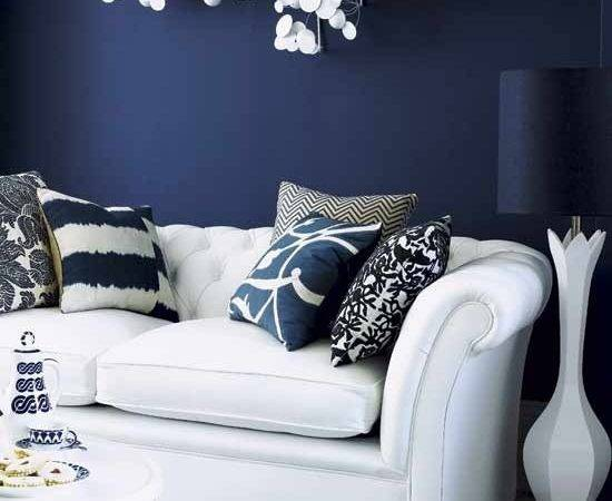 Blue Wall Modern Living Room London