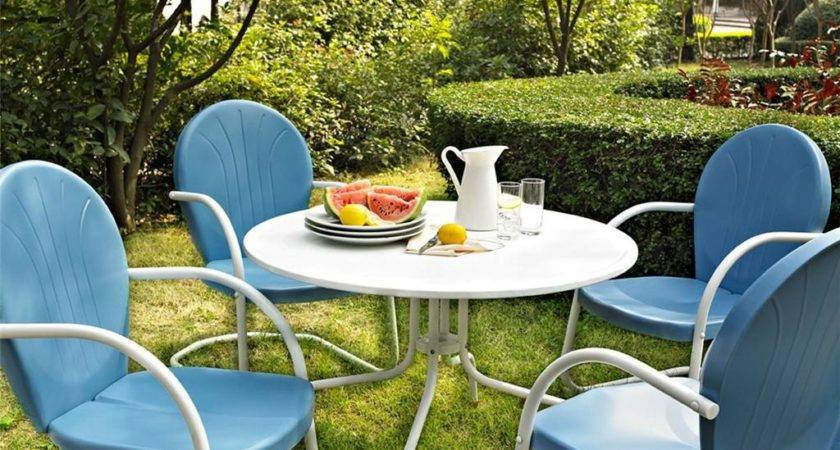 Blue White Outdoor Metal Retro Piece Dining Table