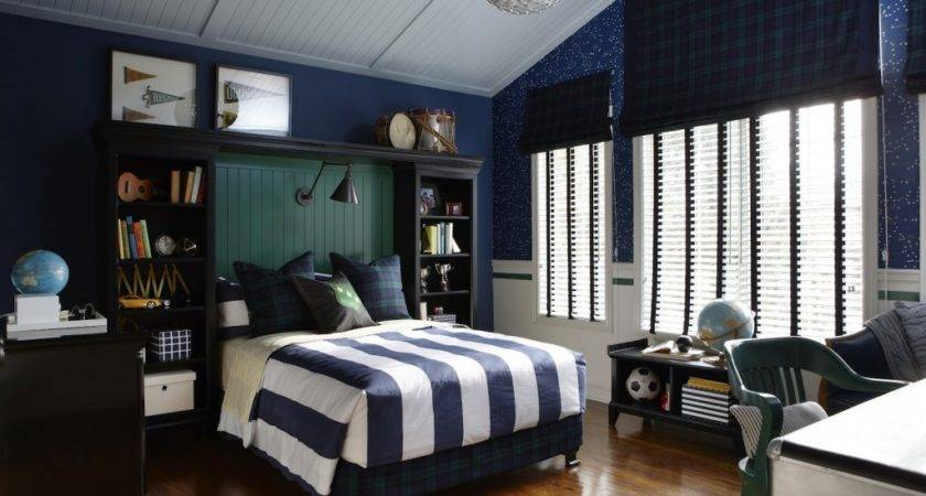 Blue White Striped Boys Room Silver Accents