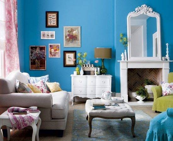 Bold Blue Living Room Modern Housetohome