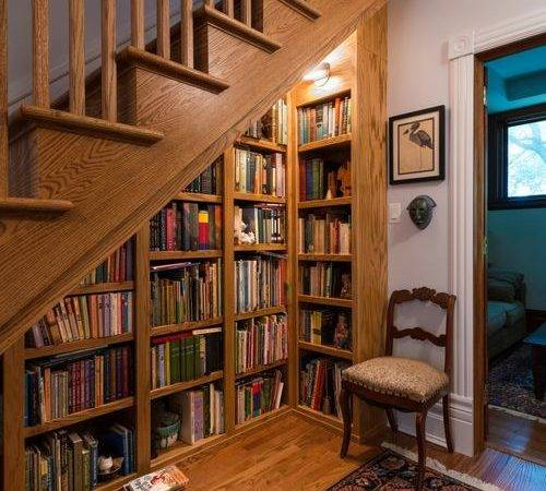 Bookcase Under Stairs Ideas Remodel Decor