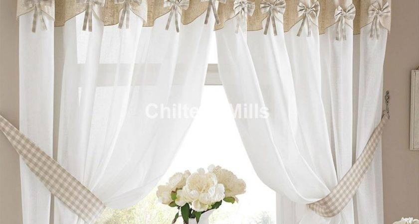 Bows Readymade Kitchen Curtains Attached Pelmet
