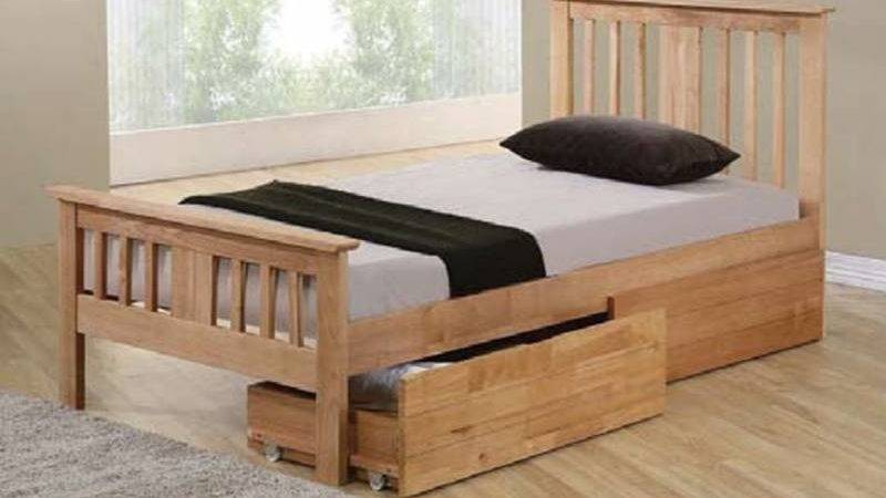 Brent Solid Wood Oak Small Double Storage Bed Cheapest