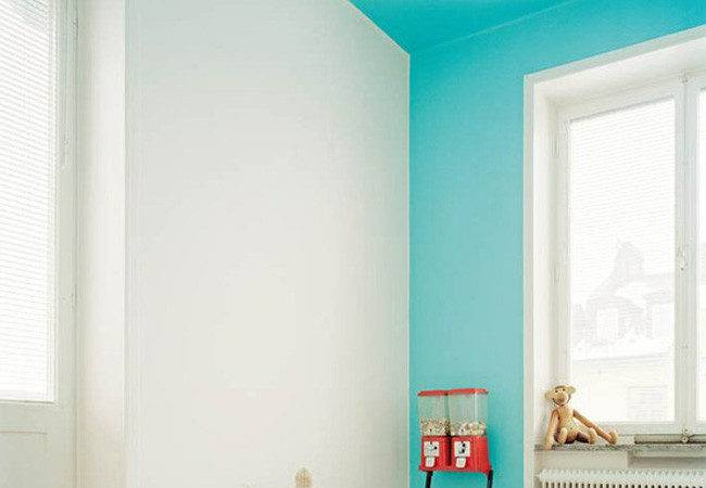 Bright Blue Color Blocking One Wall Ceiling Decoist