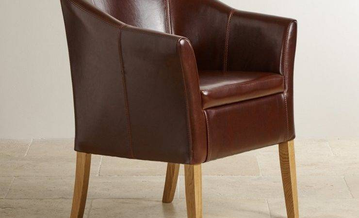 Brown Leather Tub Chair Solid Oak Legs