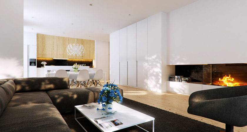 Brown Modern Living Area Fireplace Interior