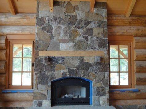 Cabin Fireplace Stonework Complete